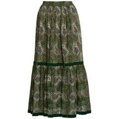1970s Yves Saint Laurent YSL Green  Paisley Challis Wool Russian Peasant Skirt