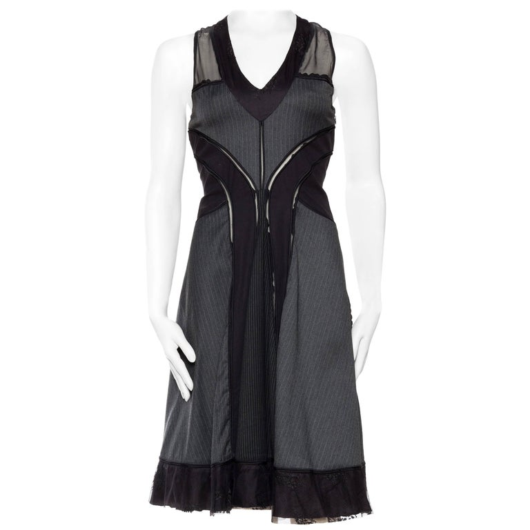 Jean Paul Gaultier Pinstripe Dress With Sheer Panels For Sale At 1stdibs