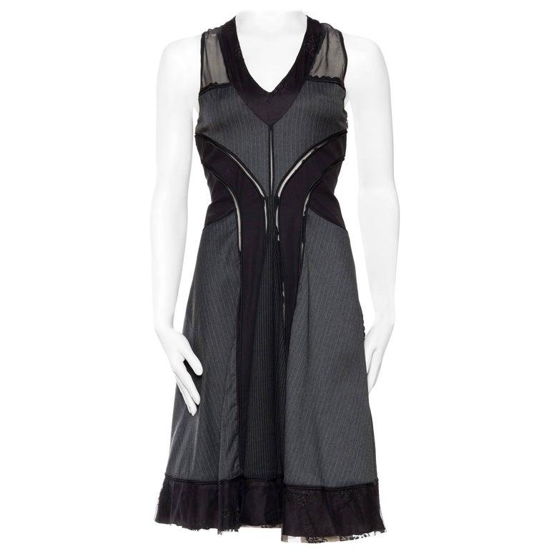 Jean Paul Gaultier Pinstripe Dress with Sheer Panels