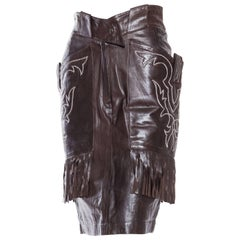 Famous Claude Montana Western Leather Skirt with Fringe