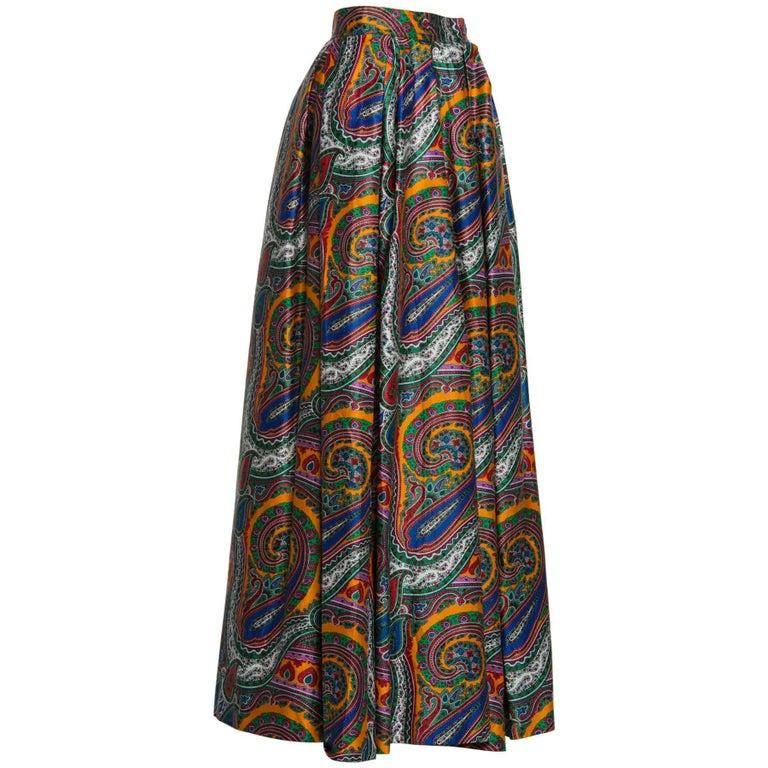 1970s Yves Saint Laurent High Waist Cotton Paisley Peasant Maxi Skirt  For Sale 2