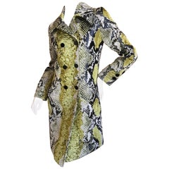 Gucci Python Pattern Print Jacquard Trench Coat