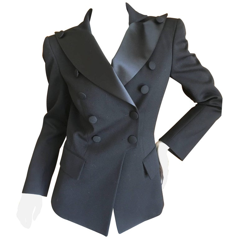 Balmain by Olivier Rousteing Black Double Breasted Tuxedo With Peak Satin  Lapels