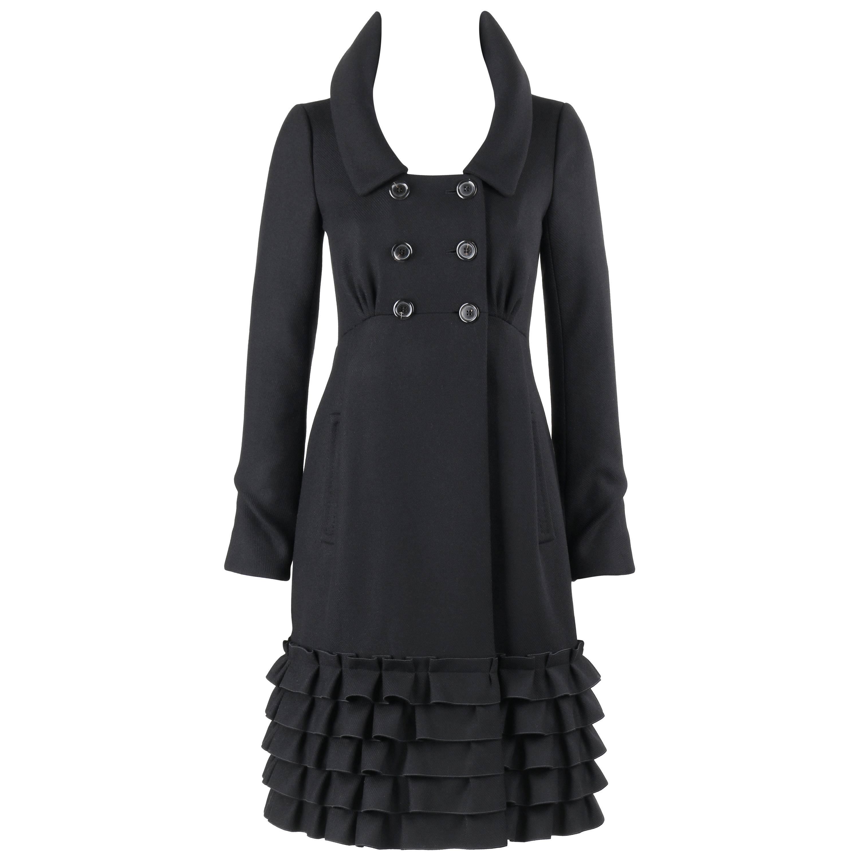 LOUIS VUITTON A/W 2006 Black Wool Double Breasted Ruffle Hem Coat