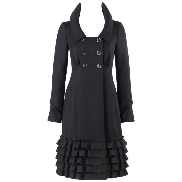 LOUIS VUITTON A/W 2006 Black Wool Double Breasted Ruffle Hem Coat