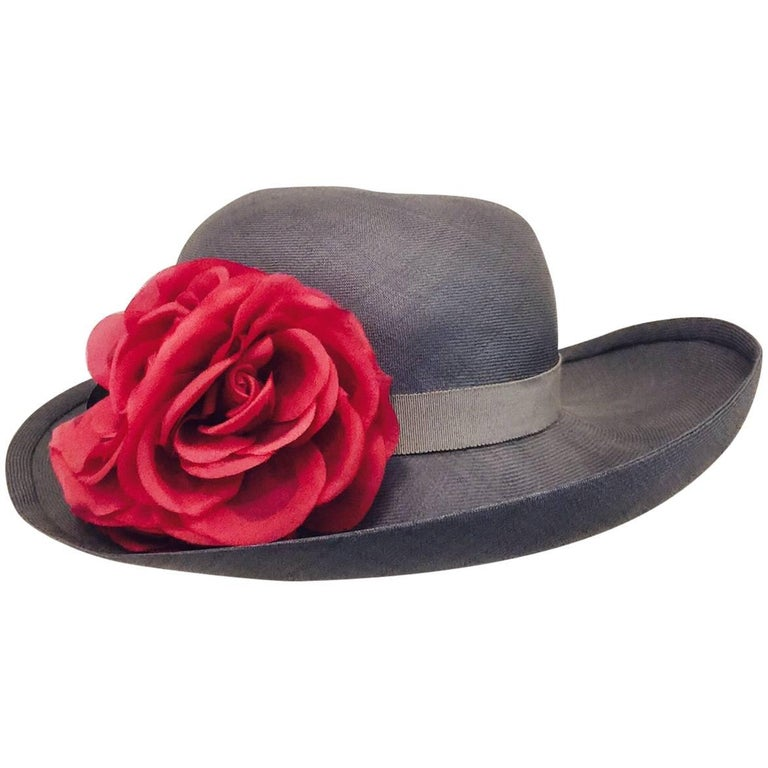 Tres Chic Chanel Light Blue Hat Accentuated With 3 Red Roses For Sale