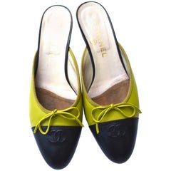 Chanel Lime Kitten Heel Slip On Shoes