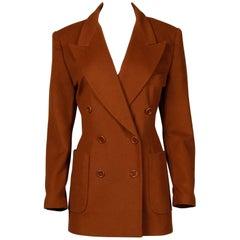 Vintage Escada by Margaretha Ley Camel Wool/ Silk Boyfriend Blazer Jacket