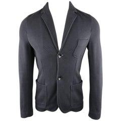 Men's VALENTINO S Regular Navy Woven Cotton Blend Sport Coat