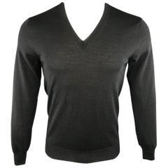 Men's ALEXANDER MCQUEEN Size S Black Solid Wool V Neck Pullover Sweater