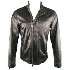 Men's JOHN VARVATOS 38 Black Wrinkle Leather High Collar Biker Jacket