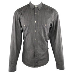 GUCCI Size M Grey & Black Checkered Plaid Cotton Blend Long Sleeve Shirt