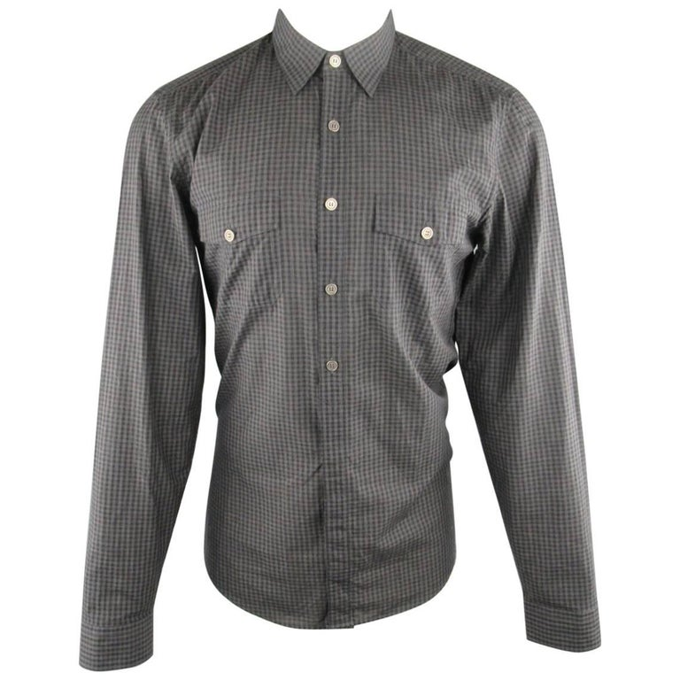 Men's GUCCI Size M Grey & Black Checkered Plaid Cotton Blend Long Sleeve Shirt