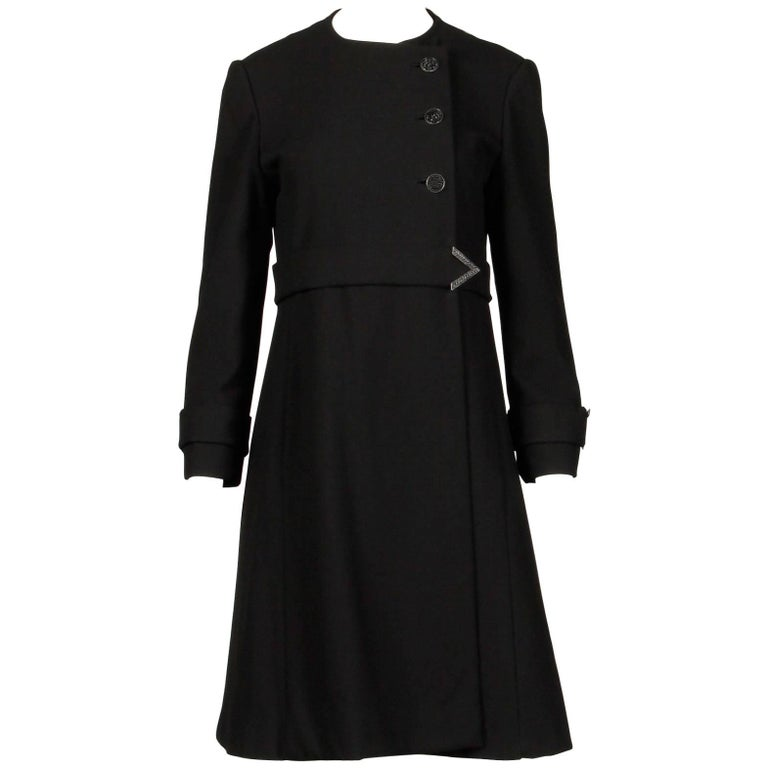 1960s Youthcraft Vintage Black Wool Asymmetric Mod Coat with Chevron Detail