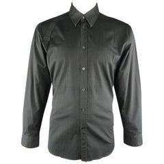 Men's ALEXANDER MCQUEEN Size XXL Black Solid Cotton Blend Harness Shoulder Shirt