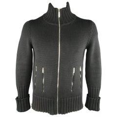 Men's DIOR HOMME Size M Black Merino Wool Zip Cardigan