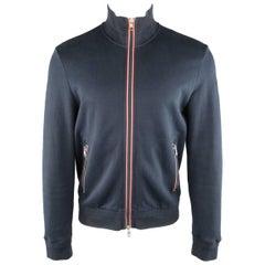 Men's MONCLER L Navy Solid Cotton - Viscose Zip Jacket