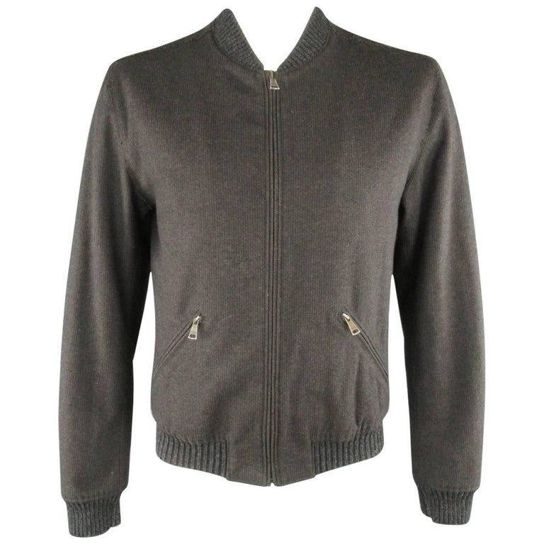Men's DOLCE & GABBANA 42 Charcoal Herringbone Wool Blend Bomber Jacket For Sale