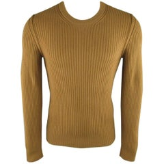 Men's DOLCE & GABBANA Size S Tan Ribbed Knit Wool Sweater