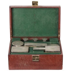 GUCCI VINTAGE Brown Leather TRAVEL GROOMING SET w/ Silver TOILETRY Pieces