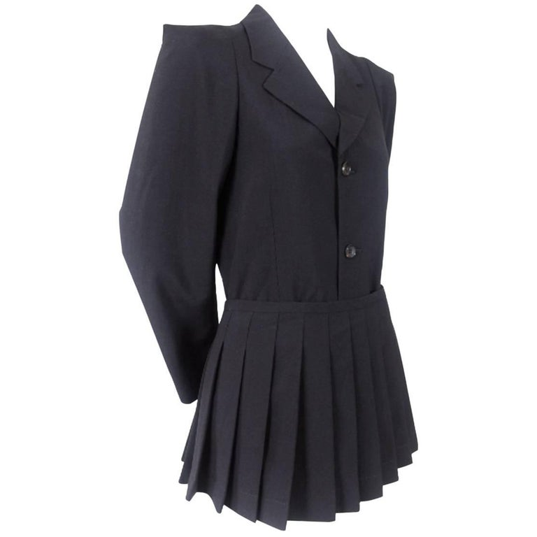 Comme des Garcons 1989 Pointed Shoulders and Attached Pleated Kilt/Skirt