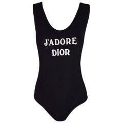 "1990's Christian Dior ""J'adore Dior"" Black Bodysuit Top"