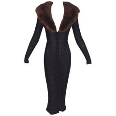 S/S 1997 Dolce & Gabbana Sheer Knit 40's Pin-Up Sweater Dress Sable Fur Collar
