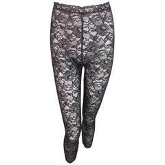 1990's Christian Dior Sheer Black & Gray Lace Leggings Pants