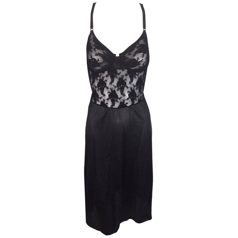 1990's Christian Dior Black Lace & Mesh Sheer Underwire Slip Dress 34C