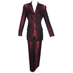 1980's Jean Paul Gaultier Metallic Red Long Slit Skirt & Jacket Suit 44 M