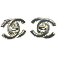 Large Silver Chanel Logo Ear Clips