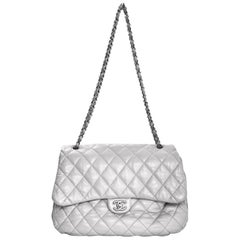 Chanel Grey Quilted Lambskin Maxi Chanel 3 Accordion Flap Bag