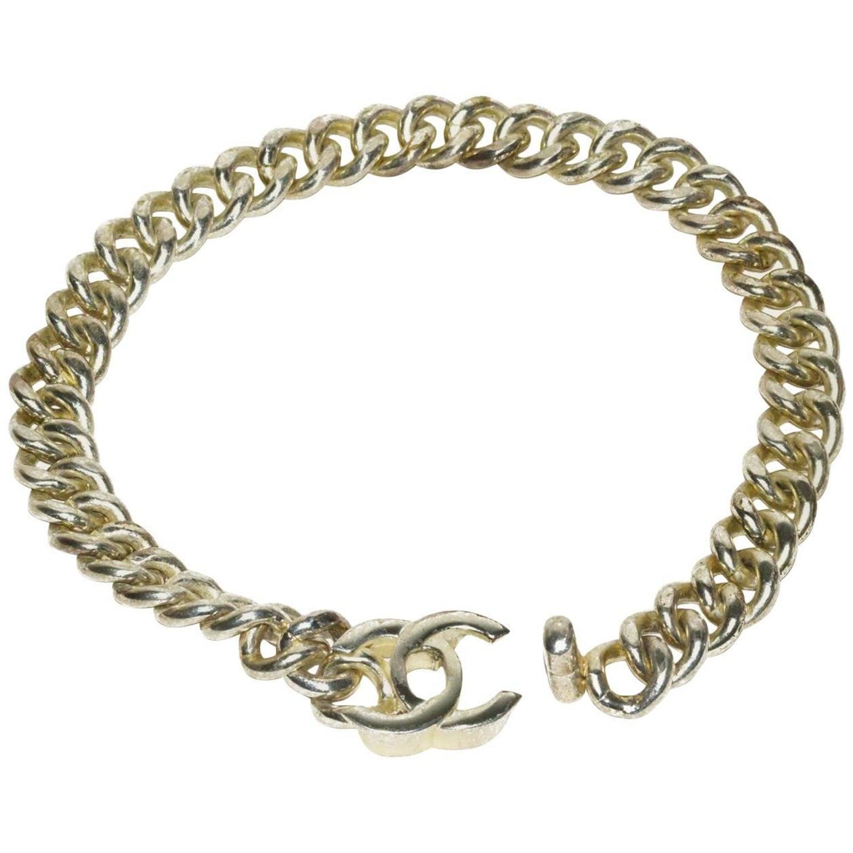 3e4e04e52d3 Chanel Silver Logo Link Necklace at 1stdibs