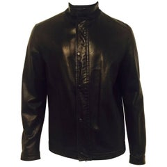 Men's Z Zegna Soft Lambskin Leather Jacket in Black Sz XL