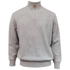 Men's Brunello Cucinelli Wool and Cashmere Sweater in Pale Blue/Ivory Sz XL