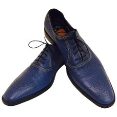 Men's Sensational Shark Skin Shoes by A. Testoni, in Lapis Blue Sz 10 B