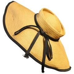 1950s Helene Dietsch Couture Wide Brim Straw Hat with Grosgrain Trim and Band