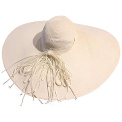 1940s Huge Custom-Made White Milanese Straw Hat w Straw Braid Bow