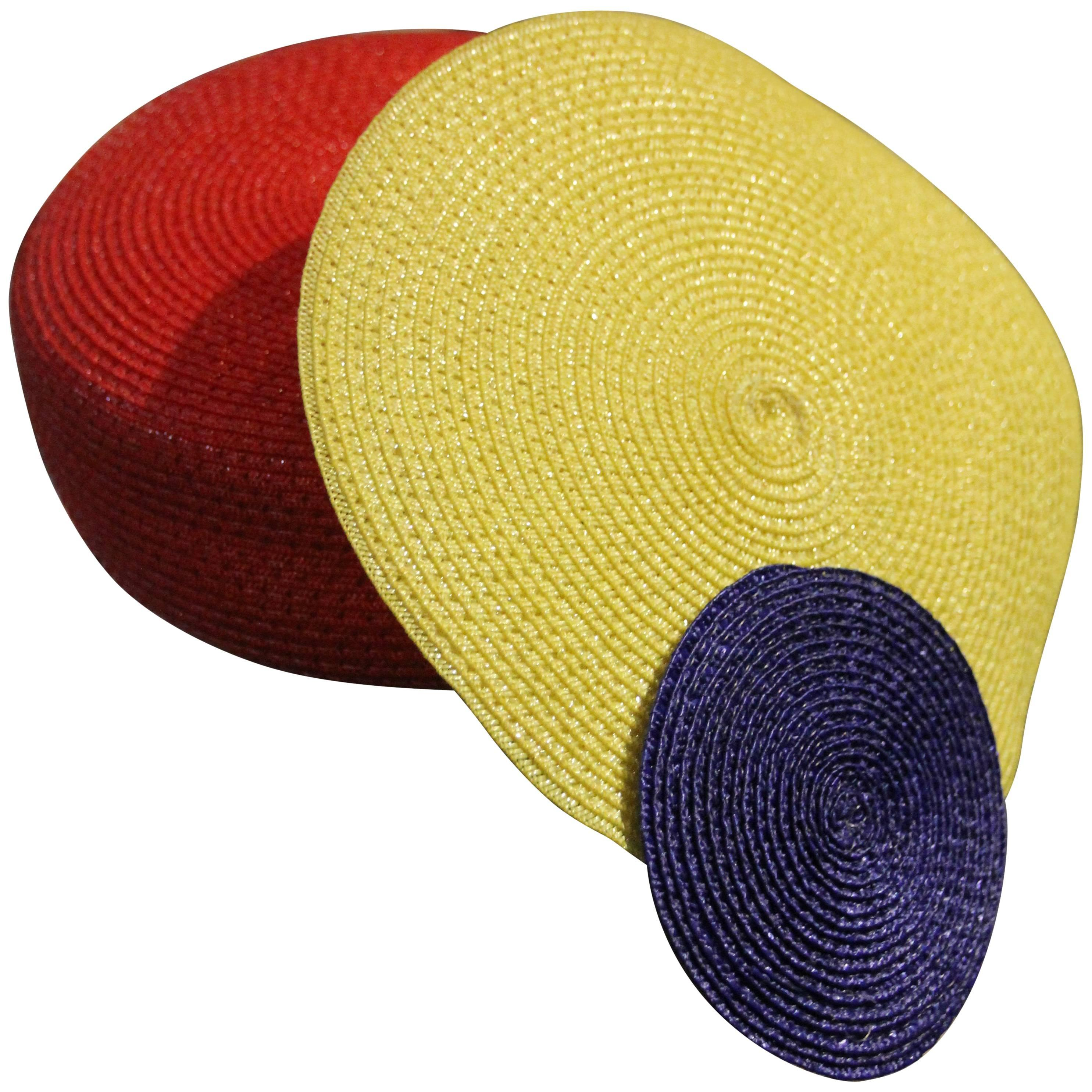 "1980s Whimsical ""Dot"" Tilt-Style Straw Hat in Primary Red Blue and Yellow"