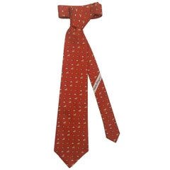 Sun and Clouds Whimsical Burnt Sienna Fabulous Ferragamo Tie - Length 58 Inches
