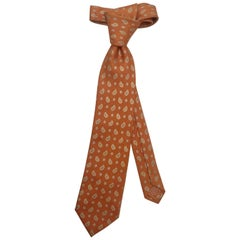 Men's Silk Brioni Necktie with Paisley Print, Tones of Apricot - 62 Inches