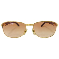 Coveted and Current Cartier Vintage Monceau Sunglasses 18K Gold & Wood