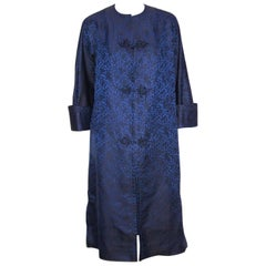 C.1950 Mandarin Style Black & Blue Jacquard Evening Coat