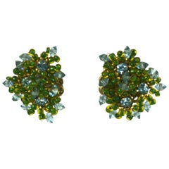 Miriam Haskell Aqua and Green Flower Head Ear Clips