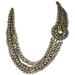 Miriam Haskell Multi Strand Faux Pearl Necklace