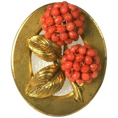 French  Art Deco Natural Coral  Clip Brooch