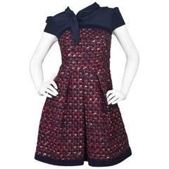 Prada Navy Silk & Red Tweed Cap Sleeve Dress sz IT38