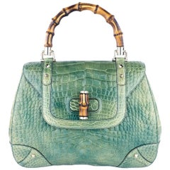 Gucci Mint Green Alligator Handbag with Bamboo Hardware