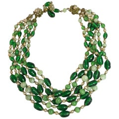 MIRIAM HASKELL Multistrand Faux Emerald Baroque Pearl Necklace