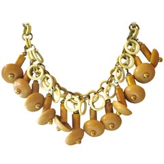 MIRIAM HASKELL Wood Brass Celluloid Naturalistic Necklace